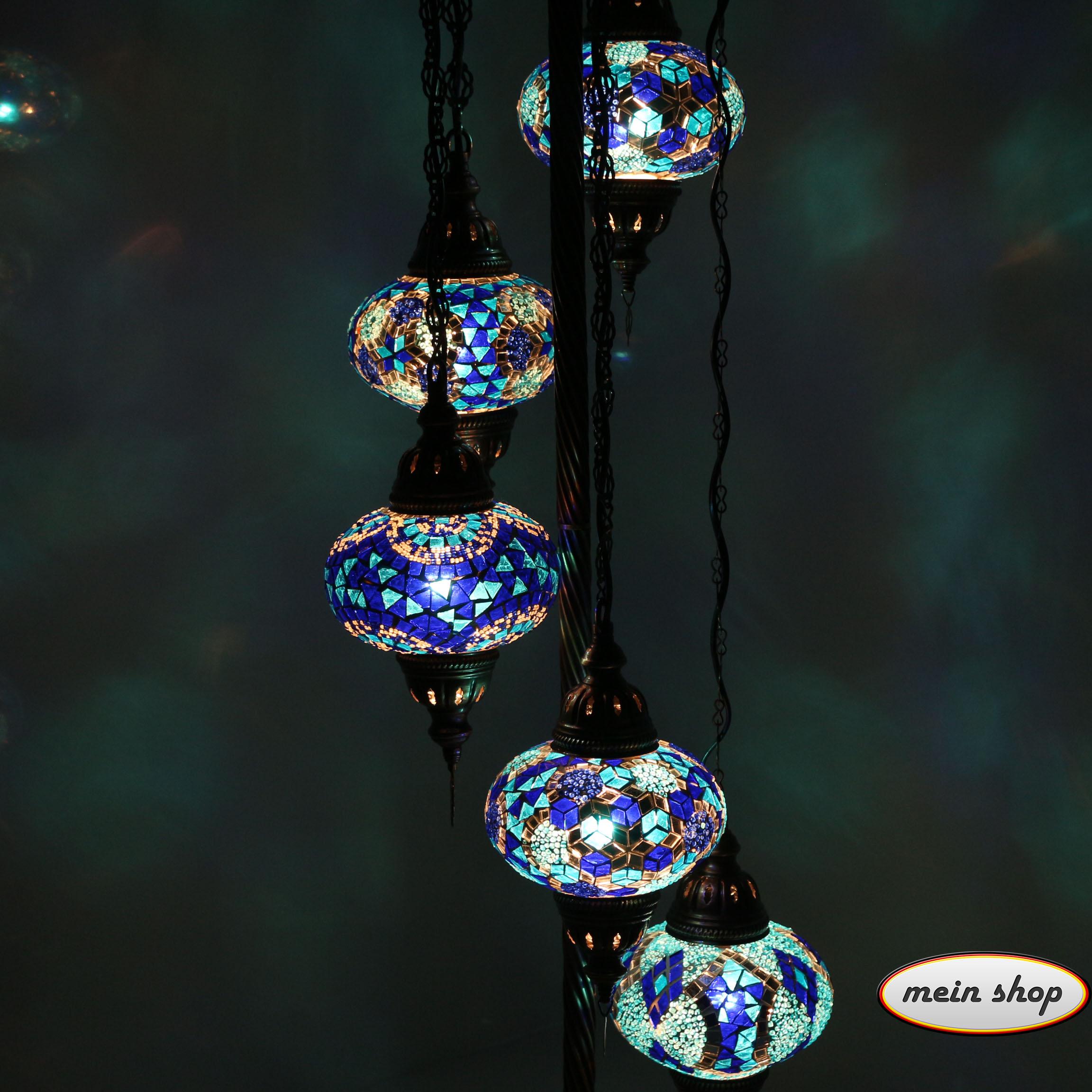 mosaik stehlampe mit 5 l kugeln blau mein shop. Black Bedroom Furniture Sets. Home Design Ideas