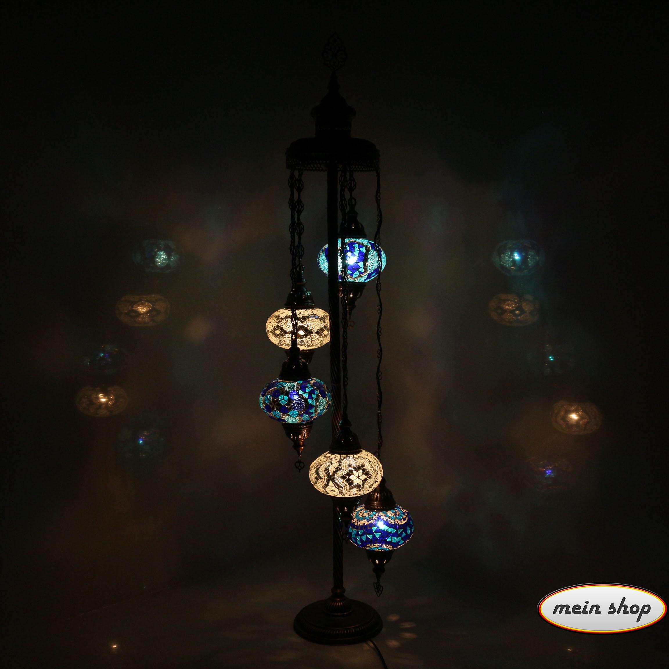 mosaik stehlampe mit 5 l kugeln blau wei mein shop. Black Bedroom Furniture Sets. Home Design Ideas