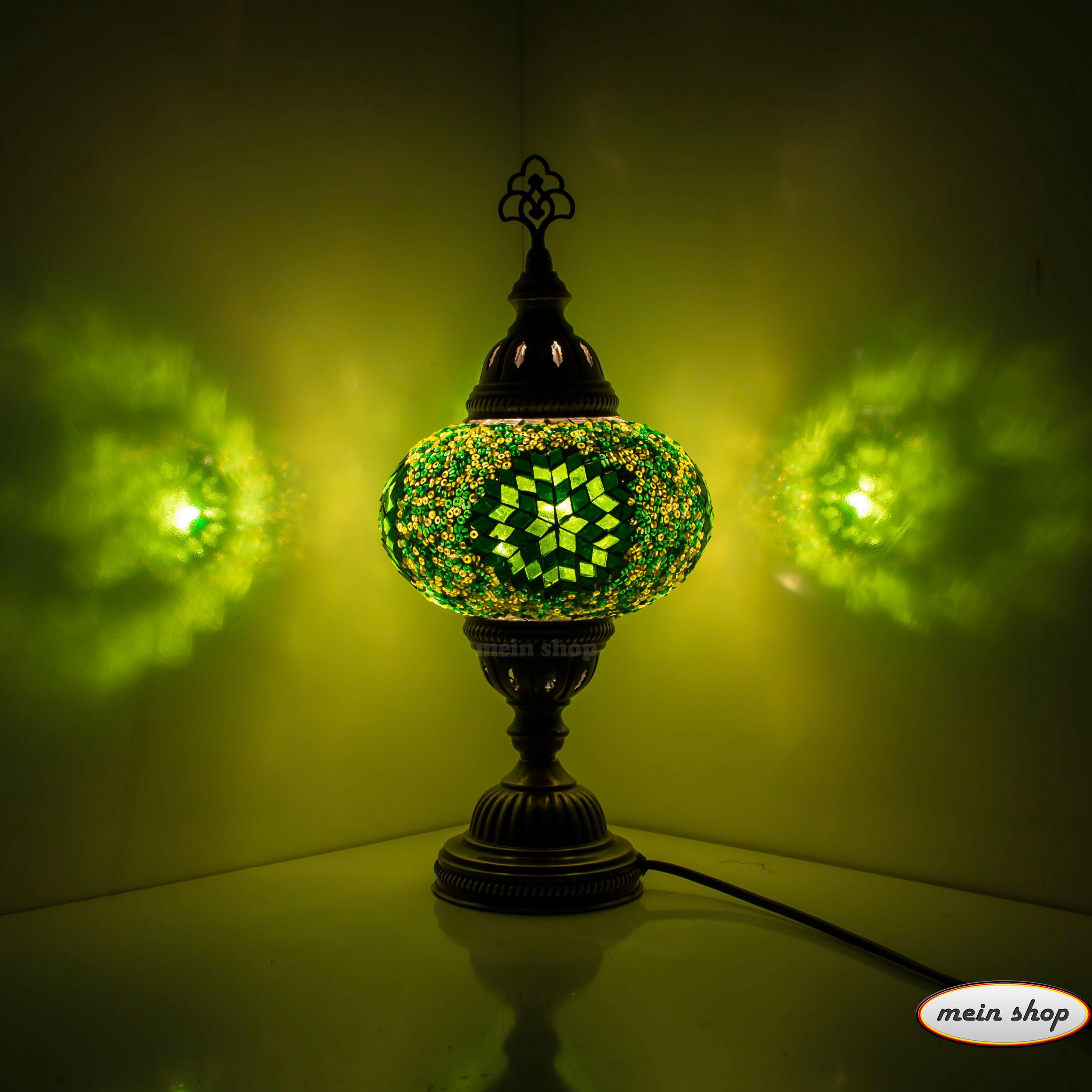 Mosaik tischlampe gr n mein shop for Mosaik lampe orientalisch